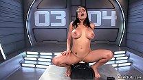 Huge tits solo brunette rides machine