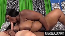 Sexy Ebony BBW Olivia Leigh Takes a Long White Cock in Her Mouth and Pussy