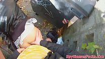 Real teen fucked outdoors in spycam action