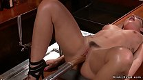 Hottie bangs machine and squirting in bar