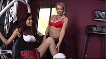 Busty blonde Kelly Leigh seduces redhead teen Isis Taylor in a gym