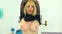 English milf Lucy Gresty fingers her tight arse