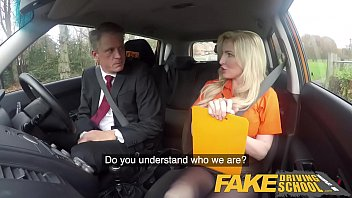 Fake Driving School Mature guy spunks over blonde bombshell Georgie lyall