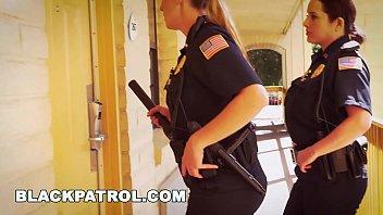 BLACK PATROL - White Cops With Big Tits Riding Big Black Cock On The Job