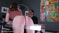 b. spanking machine paddles hot PAWGs ass during dinner while sadistic man feasts (Jessica Kay)