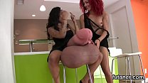 Slutty sweeties bang the biggest strap-on dildos and spray love juice all around