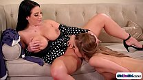 Busty milf asslicked by her robot maid