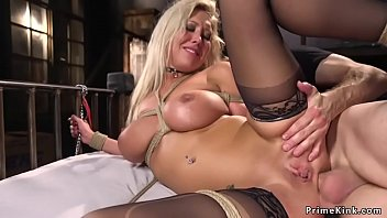 Busty blonde slave anal tied up in bed