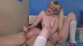 Masturbating teen tugging hard cock 6 min
