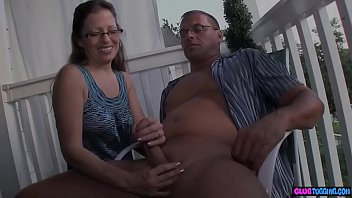 Spex MILF jerking and tugging dick