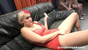 Mature German whore loves the juices of a gangbang