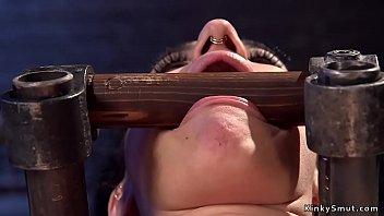 Busty alt slave takes cattle prod on her skin