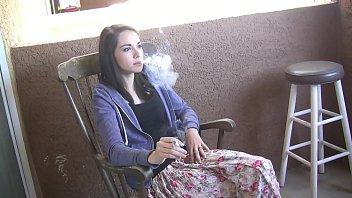 Emily Grey hot teen girl smoking a cigarette