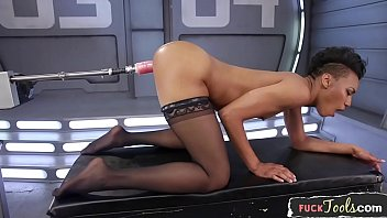Gorgeous ebony orgasms during machine sex
