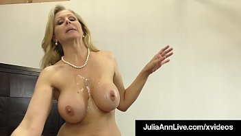 Dick Sucking Cougar Julia Ann Sucks & Strokes Lucky Cock!
