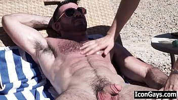 Gay daddy asks poolboy to oil his back then fucks him