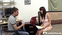Beautiful Japanese teen spreads her legs for him