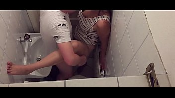 Tinder Couple can't wait until they are home and so they are fucking in the public toilet of a restaurant - caught on hidden camera 6 min