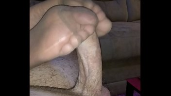 homemade footjob with different nylons