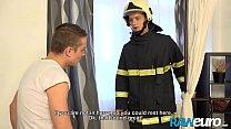 RAWEURO Firefighter Justin Brown Seduced By Facial Bareback