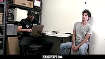 YoungPerps - Muscular Security Guard Sticks A Billy Club In A Perp's Tight Asshole