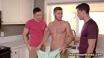 Hot jocks seduce an almost straight plumber into gay threesome sex