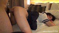 (Uncensored) Japanese schoolgirl gets fucked on her knees
