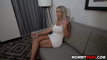 Tipsy stepmom sucks son's cock because dad is really bad at sex