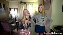 Sleazy dad pays daughter and her friend to get a blowjob