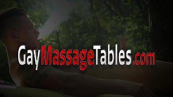 Masseur lotions up twink for barebacking
