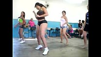 hot brunette and some friends dance rehearsal