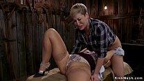 Mature lesbians anal fucking in barn