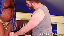 Hairy hunk Brad Kalvo barebacks naughty bear after rimjob