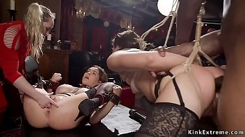 Two slaves in interracial group anal