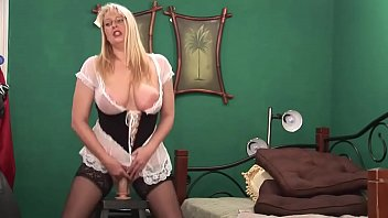 Big Ass Blonde Milf rides her Huge Dildo and Squirt on Cam 5 min