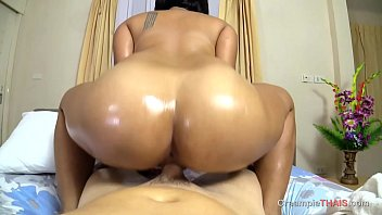 Lust over big Thai melons then creampie her