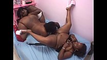 Three naughty BBW sluts Gemini Gem, Tanggi and Tomtson Skips play with fuck toys in bed