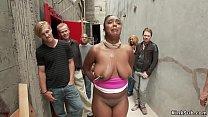 Huge tits ebony fucked in back alley