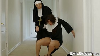 Minister and three nuns roughly fuck young innocent newcomer 6 min