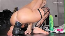 Gaping Teenie Rides extreme Dildos with her Loose asshole *** Girls4cock.com