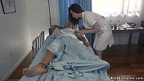 Baldheaded patient fucks tied nurse