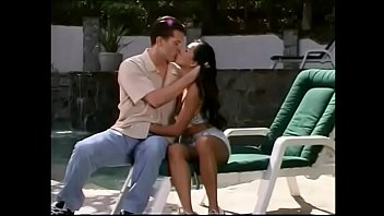 Strapping white fellow penetrates tiny Asian cutie pie Sabrine Maui in the canvas slung chair near the pool