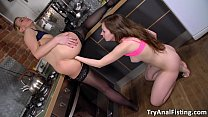 Try Anal Fisting - Lesbo anal fisting in a kitchen
