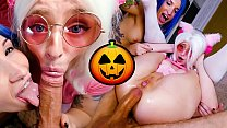 Jean-Marie Corda anally fucks two naughty hotties Keoki Star and Leah Meow with buttplugs on the Halloween eve in his appartment!