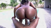 Beautiful black babe fucked by the pool