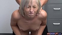 Blonde shoplifter chick gets rough fucked