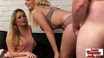 Two hot british blondes watch loser jerk off 5 min