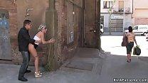 Blonde gets fucked in hidden alley