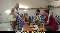 Very old hairy blonde granny threesome