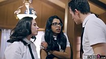 Schoolgirl seduced by these twisted two stepsiblings